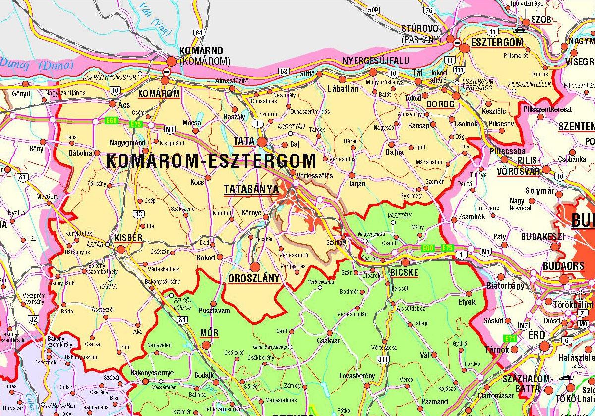 komárom esztergom megye térkép Komárom komárom esztergom megye térkép